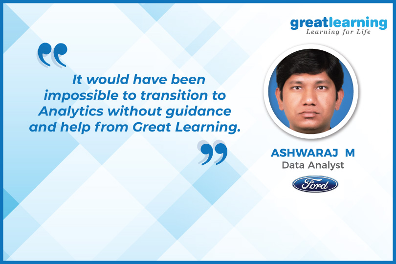 It would have been impossible to transition to Analytics without guidance and help from Great Learning: Ashwaraj, PGP-BABI Alumnus