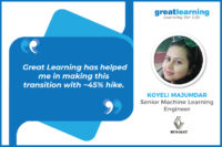 Great Learning has helped me in making this transition with ~45% hike: Koyeli, PGP-DSE Alumnus