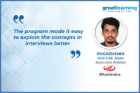 The program covered all topics asked in interviews: Pugazhendhi, PGP-DSE Alum