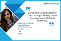 My dream of becoming a Data Analyst finally came true because of Great Learning– Apoorva Krishnan Arunachalam, Analyst at LatentView