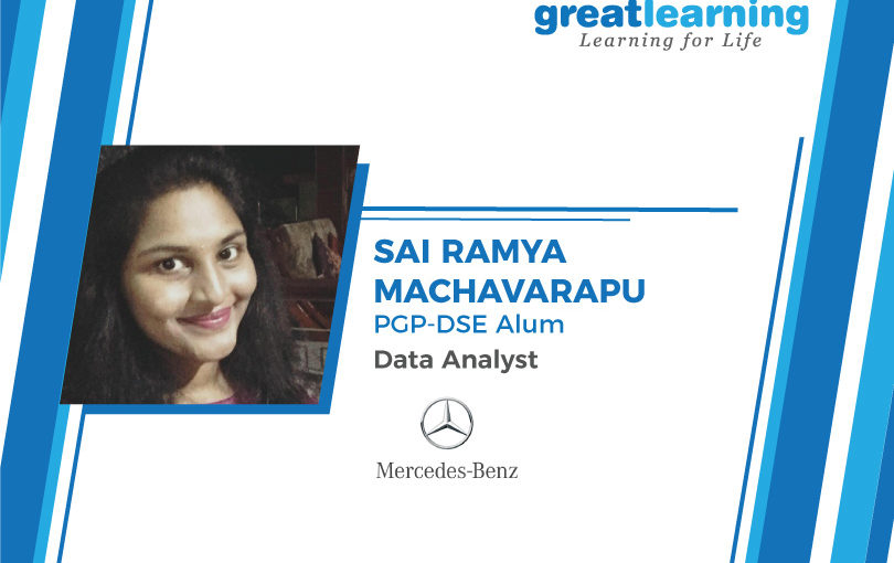 With Career support, I got to interview with many companies – Sai Ramya Machavarapu, Data Analyst at Mercedes Benz.