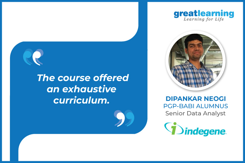 The Course offered an exhaustive curriculum- Dipankar, Data Analyst