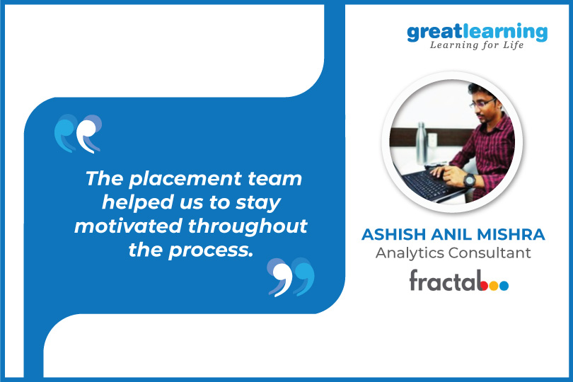 The placement team helped us to stay motivated throughout the process - Aashish Anil Mishra, Consultant at Fractal Analytics
