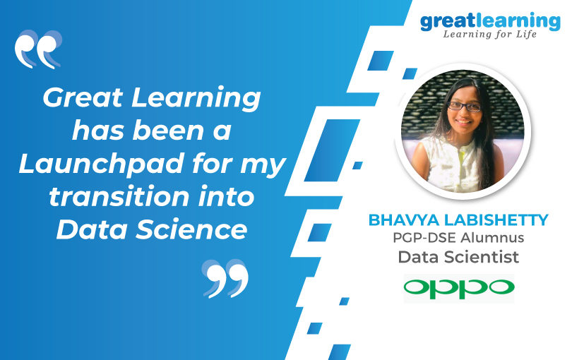 Launch pad for my Transition into Data Science: Bhavya, Data Scientist