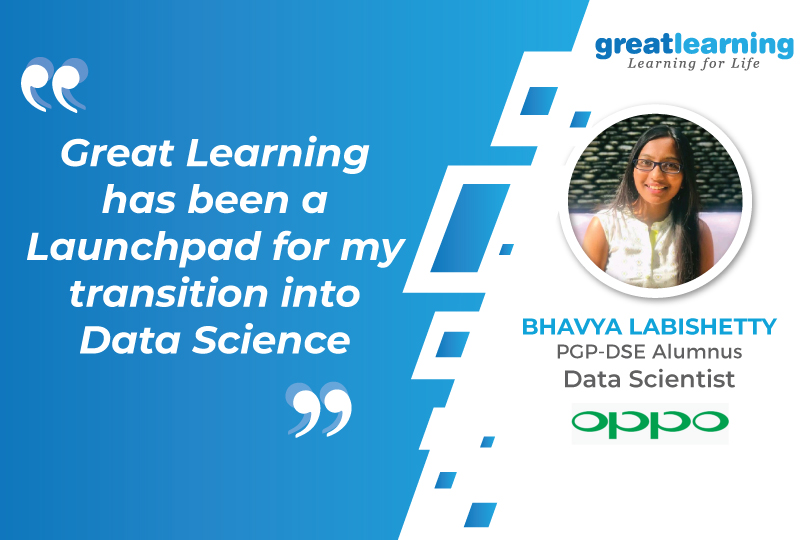 Great Learning has been a Launchpad for my transition into Data Science - Bhavya Labishetty, Data Scientist at Oppo