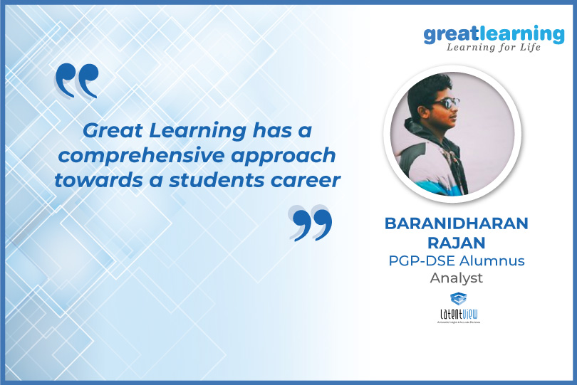 Great Learning has a comprehensive approach towards a students career- Baranidh