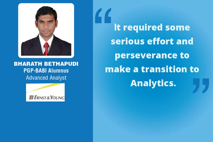 Great Learning Success Story bY PGP-BABI Alumnus : Bharath Bethapudi , Advance Analyst at Ernst and Young