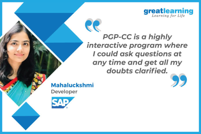 Great Learning Success Story by PGP-CC Alumnus : Mahaluckshmi , Developer at SAP