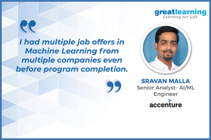 Great Learning Success Story by PGP-AI/ML Alumnus : Sravan Malla , Senior Analyst - AI/ML Engineer at Accenture