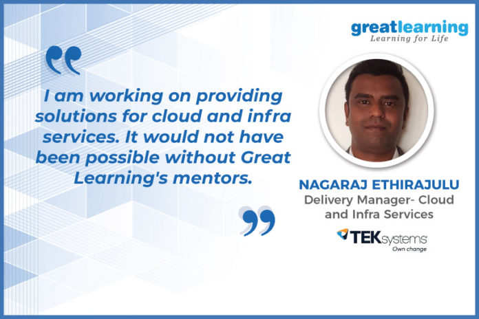 Great Learning Success Story by PGP-CC Alumnus : Nagaraj Ethirajulu , Delivery Manager - Cloud and Infra Services at TekSystems