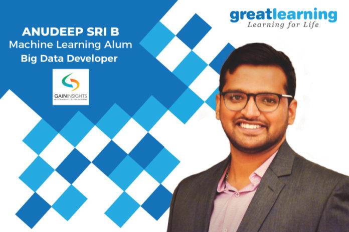 Great Learning Success Story by PGP-ML Alumnus : Anudeep Sri B, Big Data Developer at GainInsights