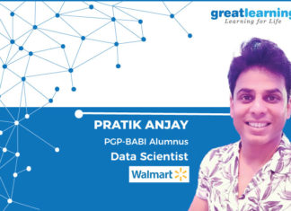 Great Learning Success Story by PGP-BABI Alumnus : Pratik Anjay , Data Scientist at Walmart