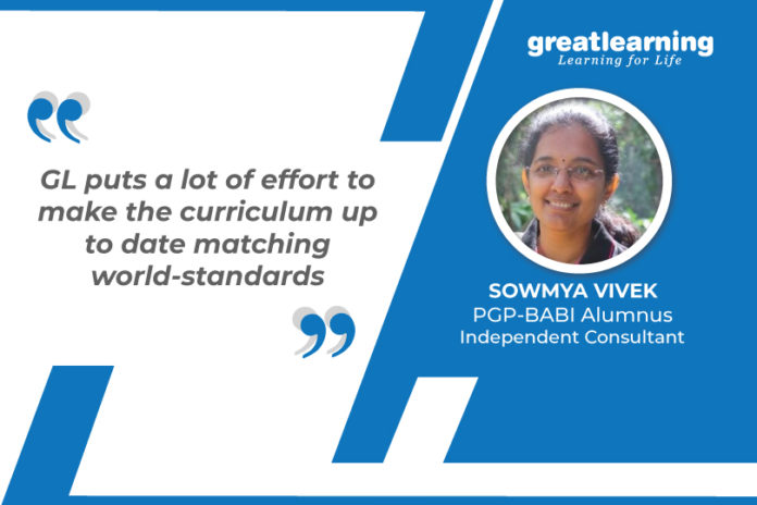 Great Learning Success Story by PGP-BABI alumnus : Sowmya Vivek