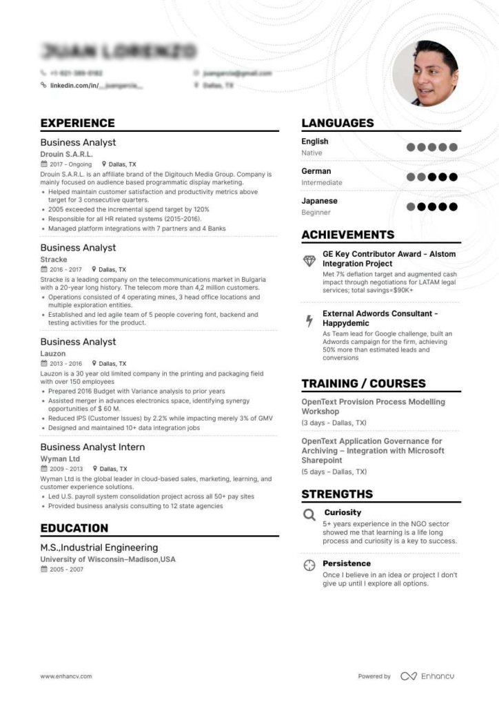 Business Analyst Resume Tips Examples Samples How To Make Ba Cv