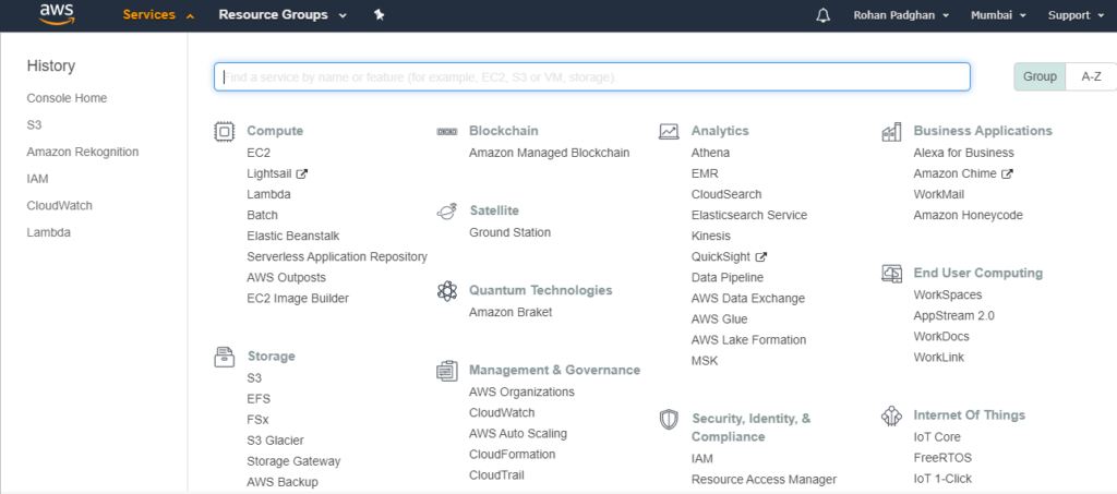 Console - AWS Management Console - Great Learning AWS management console
