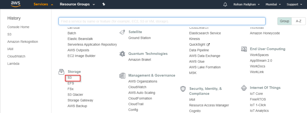 3 - AWS Management Console - Great Learning