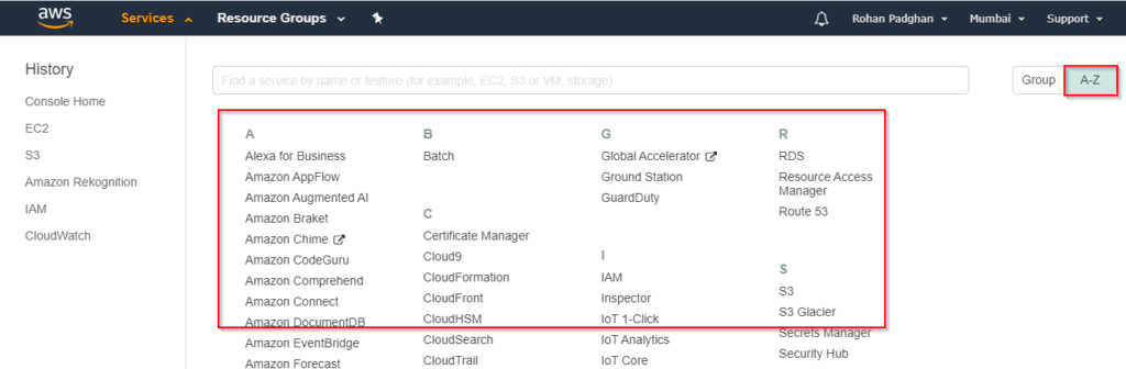 7 - AWS Management Console - Great Learning